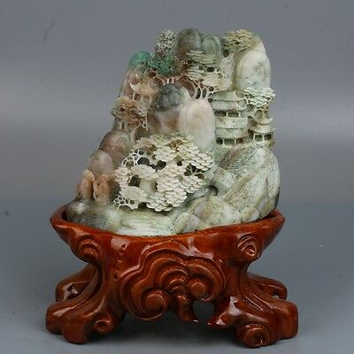 Chinese Exquisite hand-carved Natural Dushan jade Natural human landscape statue