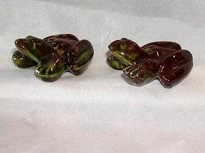 Vintage Pottery Male & Female  Anatomically Correct Pair of Green Frogs