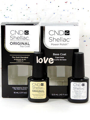 CND Shellac Gel Polish UV Large Original Top Coat 0.5fl.oz & Base Coat 0.42fl.oz
