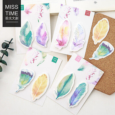 30 Sheets/pack Colorful Feather Stickers Kawaii Bookmarks Sticky Notes Memo