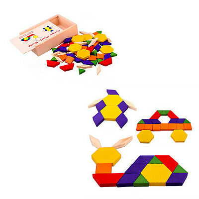 Boards Puzzle Toy Pattern Blocks  Multi-color Children New Wooden Hot