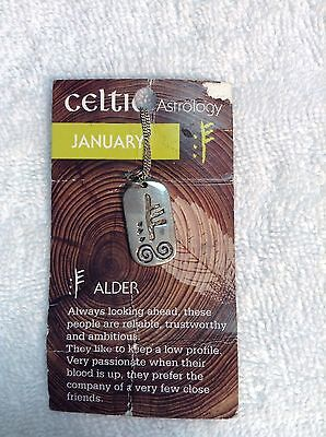 STERLING SILVER CELTIC IRISH OGHAM ASTROLOGY PENDANT January Alder ASTJan