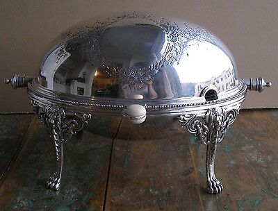 Antique Elkington Co silverplated rolling dome breakfast buffet chafing server