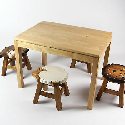 Mango Trees Kids Children Rubber Wood Table Plain Solid Timber Hand Crafted