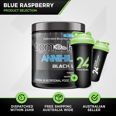 BPM Labs Annihilate Black Label | 50 Serves Blue Raspberry | Fat Burner | Gift!