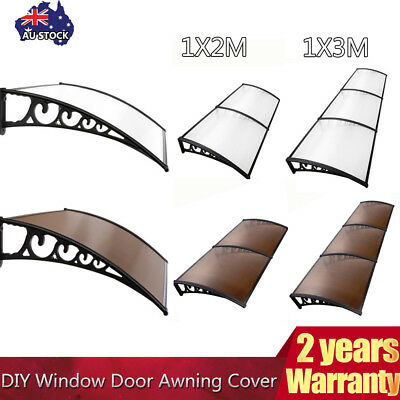 DIY Window Awning Patio UV Rain Cover Outdoor Sun Shield Door Canopy 1x2m 1x3m