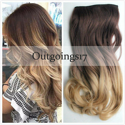 European Balayage Ombre Clip In Remy Human Hair Extensions Brown Ash Blonde NEW