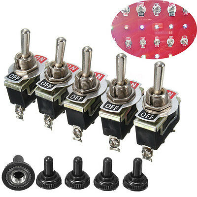 5pcs Heavy Duty 15A 250V SPST 2 Pin ON/OFF Rocker Toggle Switch Waterproof Boot