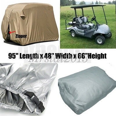 "95"" 2 Passenger Golf Cart Cover Vents Zippered Sliver For EZ Go Club Yamaha Golf"