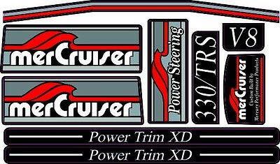 Mercruiser The New Red  2017 Most Complete Trs W/gray Rams Sticker Set