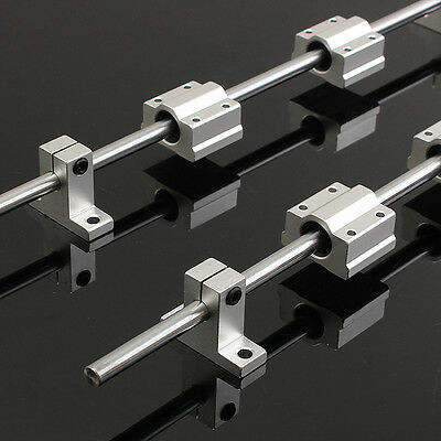 2x 400mm Linear Shaft Rail+4x SK8 SCS8UU Guide Bearing Block For 3D Printer CNC
