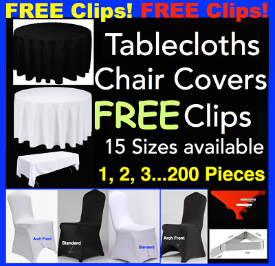 Black White Round Square Tablecloths Table Cloth Full Chair Seat Cover Clips A1