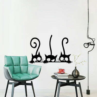 2017 DIY Three Black Cat Wall Stickers PVC Decal Removable Home Room Decor Mural