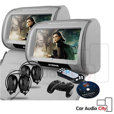 9 Inch Digital Touch Screen Car DVD Player Headrest Dual Twin Monitor 3 Colours