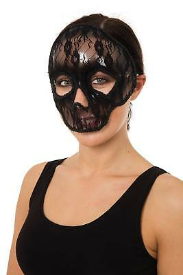 FANCY DRESS Skull Masquerade Mask Black Lace