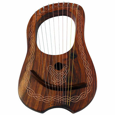 New Lyre Harp 10 Metal Strings Rosewood/Lyra Harp Rosewood 10 Strings Free Case