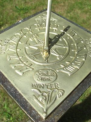 20cm Square Polished Brass Four Seasons Garden Sundial