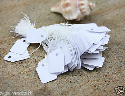 100 Tie-On Price display Blank Strung Tags 15mm x 25mm Jewellery Craft Clothing
