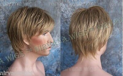 LARGE FIT... Dark Blonde Mix Short Layered Mens Wispy Tips Jason Wig