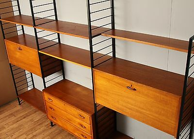 Stunning Vintage Staples Ladderax Teak 3-bay Shelving Unit DELIVERY AVAILABLE