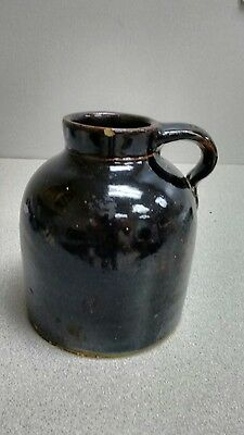 Vintage Small Wide Mouth Brown Jug