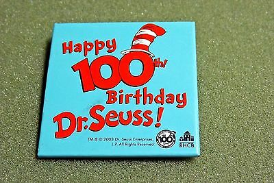 Dr Seuss Happy 100th Birthday 2003 Lapel Pin Button Cat In The Hat Reading Books