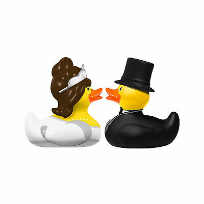 Bride & Groom Set Of 2 Mini Bud Ducks Pvc Rubber Bath Ducky Novelty Collectors