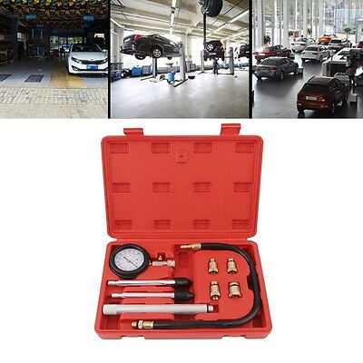 Petrol Engine Compression Tester Guage Kit Car Motorcycle Cylinder Garage Tool