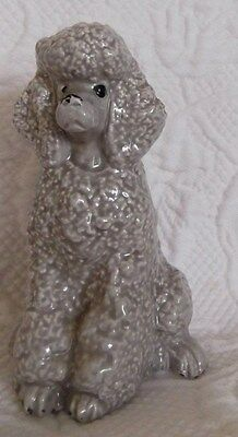 Vintage Gray Porcelain French Poodle Dog Figurine Statue Collectable