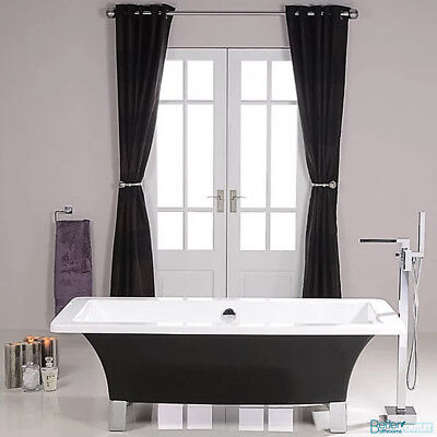 1700mm Black Freestanding Bath Tub Modern Roll Top Bathroom Square Chrome Feet