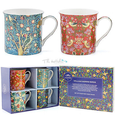 William Morris Birds Set of 4 Bone China Mugs in A  Gift Box - Tea Coffee cups