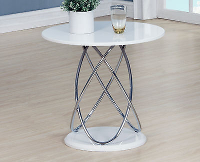 Lamp Table Side End Coffee Table White Gloss 60cm Round Top Chrome Spiral Frame