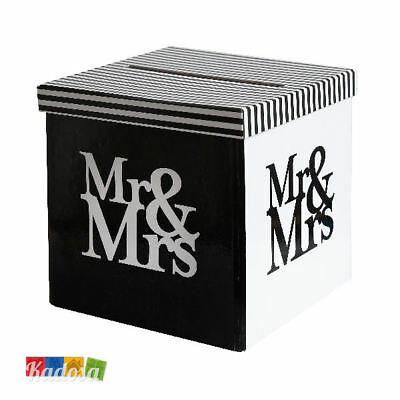 Gift Box Mr & Mrs Porta Buste Wedding Card Regali Matrimonio Bianco Nero