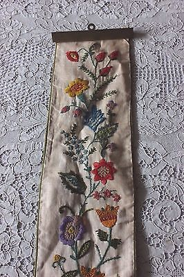 """Vintage American Hand Embroidered Crewel Work Bell Pull c1950-1960s~50""""L X 5""""W"""