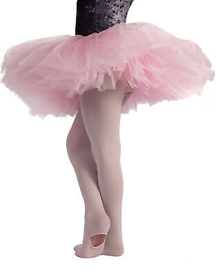 Collant Convertibile Danza Bambina, Calze Balletto Rosa, 80 DEN, Made in Italy