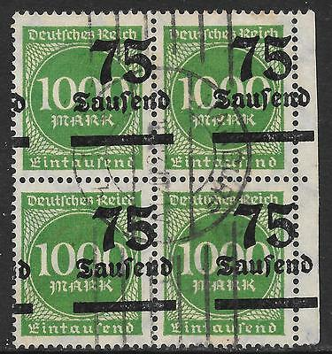 German Reich stamps 1923 MI 288 SHIFTED Ovpts Bloc of 4  CANC  VF