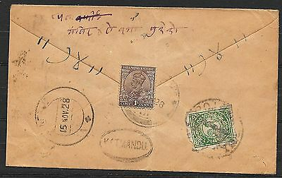 Tibet covers 1928 cover to Nepal and several postmarks / Katmandu