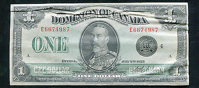 DC-25o 1923 $1 DOMINON OF CANADA BANKNOTE BLACK SEAL CAMPBELL/CLARK XF+