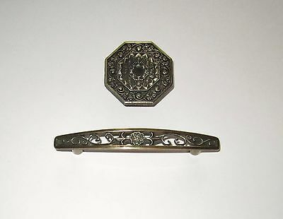 Vintage Antique Brass Intricate Ornate Victorian Cabinet Pull & Knob Hardware