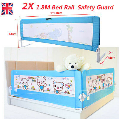 2x Infant Folding Safety Bed Rail Guard Baby Kids Sleeping Protection 1.8M Blue