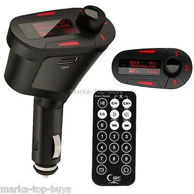 Car MP3 Player Wireless FM Transmitter with Remote Control and 1.1 inch Screen,