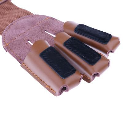 Cow Leather Archery Hunting Three Finger Protector Shooting Glove - Brown