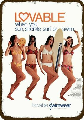 1972 LOVABLE SWIMWEAR Vintage Look Replica Metal Sign - SEXY WOMEN SNORKEL SURF