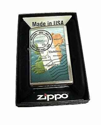 Zippo Custom Lighter Irish Postage Stamp Regular High Polished Chrome Pocket