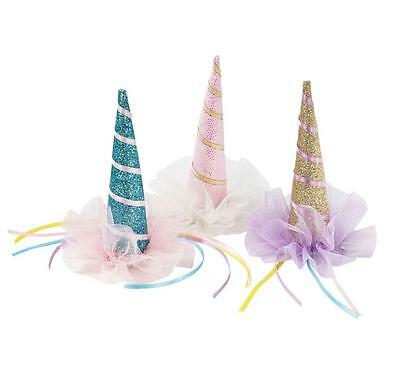 We Love Heart Unicorn Horn Glitter Hat Party Birthday Fancy Dress Believe