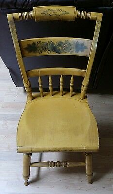 Vintage L. Hitchcock Solid Maple Side Chair Harvest Yellow & Stencil Decorated