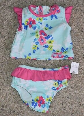 Baby Gap Girl's Floral Ruffle Two Piece Rashguard Swim Suit NEW 0-3 M