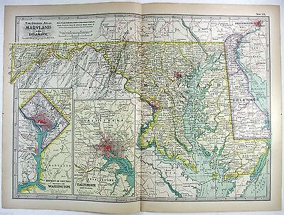 Original 1897 Map of Maryland and Delaware by The Century Co,