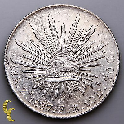 1887Zs FZ  Mexico 8 Reales Silver Coin, Zacatecas Mint, KM# 377.13