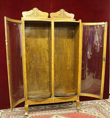 Antique Oak Curio  Hutch Double Bent  Glass Doors